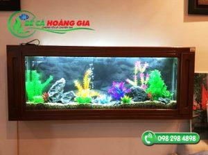 Bể cá treo tường viền gỗ